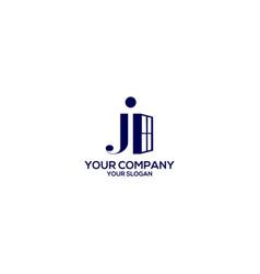 Ji window logo design vector