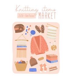 Knitted items market flat poster template vector