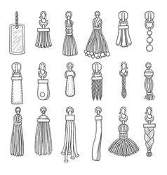Leather accessories handbag fringes trinket vector