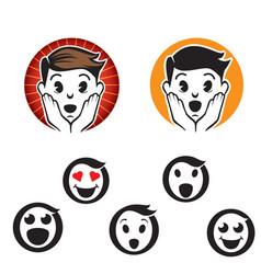 Letter o emoji logos or icons set vector