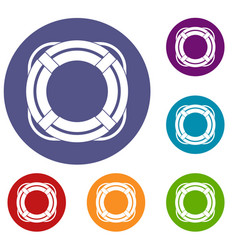 Lifebuoy icons set vector