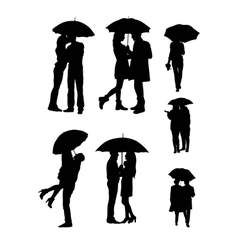 Lovers Use Umbrellas Silhouettes vector image