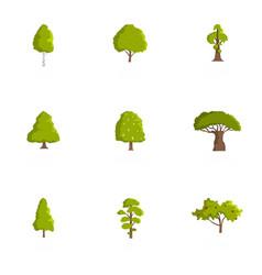 Lumber icons set cartoon style vector