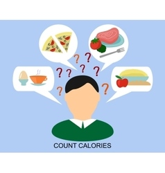 male silhouette with a day diet and question marks vector image