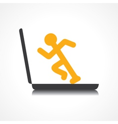 Man running with technology vector