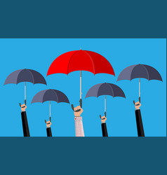 man with red umbrella in the crowd vector image