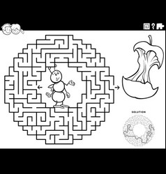 Maze game with ant and apple core coloring book vector