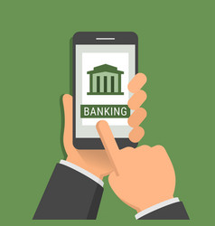 mobile banking application concept one hand holds vector image