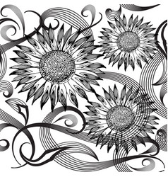 modern abstract sunflowers seamless pattern vector image