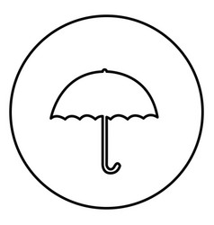 monochrome contour circular frame with umbrella vector image