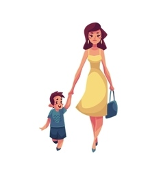 Mother and son walking together vector