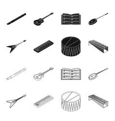 Musical instrument blackoutline icons in set vector