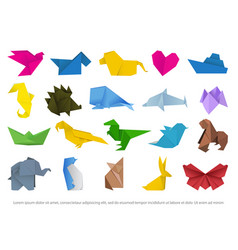 Origami animals colorful art paper image vector