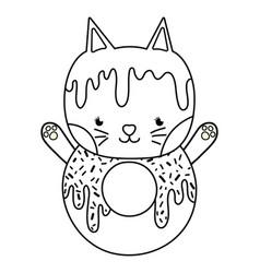 Outline kawaii cute cat donut food vector