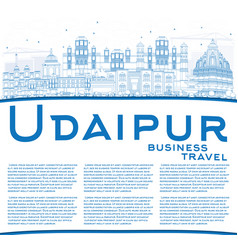 Outline udaipur skyline with blue buildings and vector