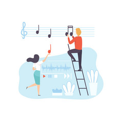 People creating musical content technology vector