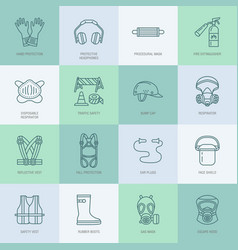 personal protective equipment line icons gas mask vector image