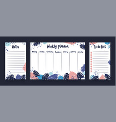 Personal weekly planner with week days sheet for vector