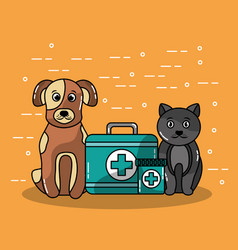 pet veterinary clinics and animal with cat and dog vector image