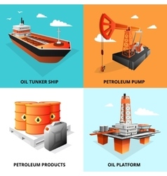 Petroleum Oil Industry 4 Isometric Icons vector image
