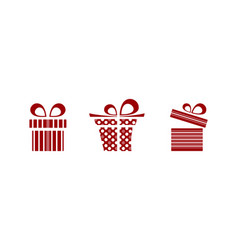Pink and red gifts icon set on white background vector