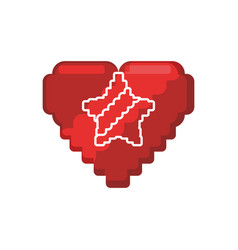 Pixelated heart shape vector