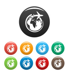 plane on earth icons set color vector image