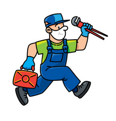 Plumber or repairman with tools is running vector
