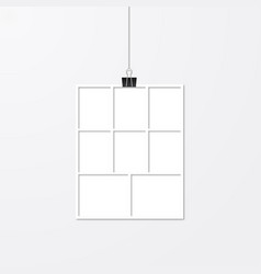 Realistic frame hanging with binder clips white vector