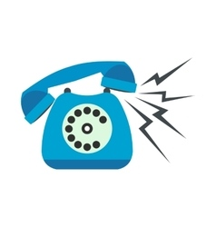 Ringing blue stationary phone flat vector