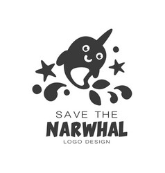 Save the narwhal logo design protection of wild vector