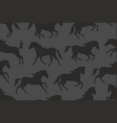 Seamless pattern with black horses silhouettes vector
