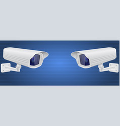 security cameras white cctv surveillance system vector image