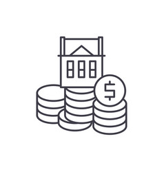 selling a house line icon concept selling a house vector image