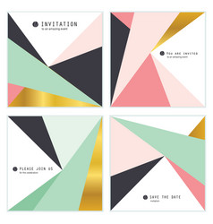 Geometric invite vector images over 23000 set of 4 creative universal invitation cards vector stopboris Choice Image