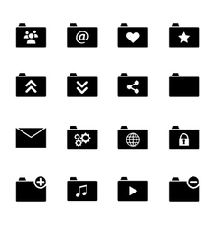Set of various folder icons - black flat design vector image
