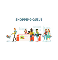 Shopping queue people purchasing in supermarket vector