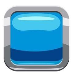 Sky blue square button icon cartoon style vector