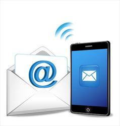 Smartphone sending email vector