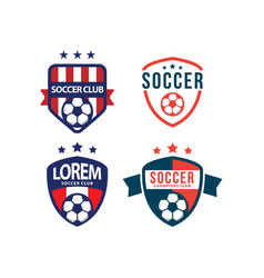 soccer club logo set template design vector image