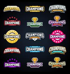 sport champion or champions league emblem vector image