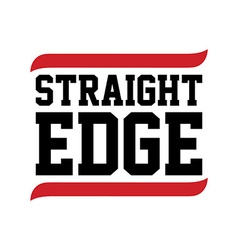 straight edge black red text vector image