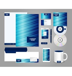 Striped blue corporate identity template vector