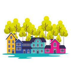 Suburban neighborhood trees landscape vector