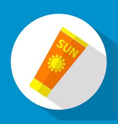 sun care sun protection sunscreen tube flat icon vector image