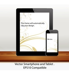 tablet computer and mobile phone in white vector image