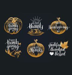 Thanksgiving lettering with sketches for vector