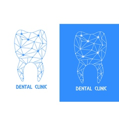 Tooth polygon outline logo vector