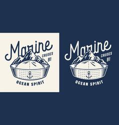 vintage marine monochrome badge vector image