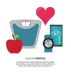 Weight smartphone watch icon Healthy lifestyle vector